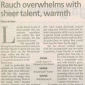 1997 - Pretoria News - Rauch overwhelms with sheer talent, warmth