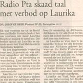 1998 - Beeld - Radio PTA skaad taal met verbod op Laurika